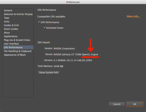 Adobe Illustrator GPU Performance preferences