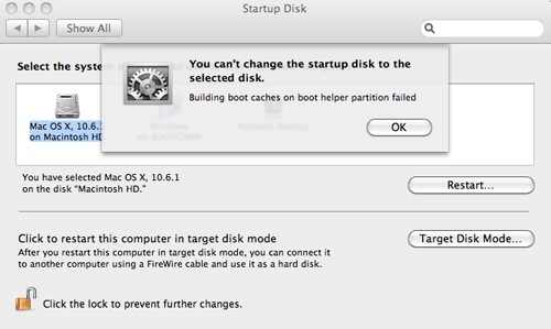 "Building boot caches"" error when changing startup disk"