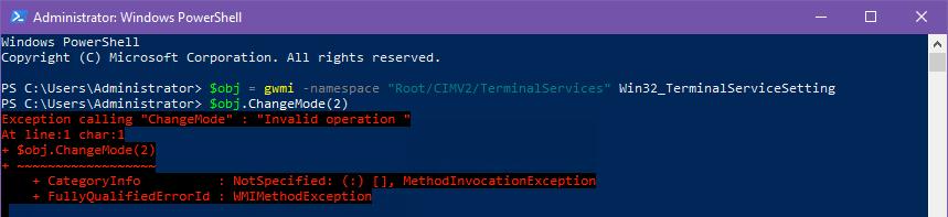 "Windows Server 2019: RD Session Host — ChangeMode ""Invalid operation"